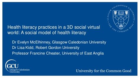 social media health literacy a health literacy practices in a 3d social virtual world a