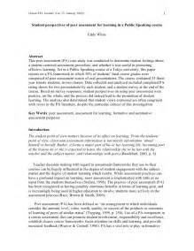 Self Analysis Essay Topics by Student Perspectives Of Peer Assessment For Learning In A Spea