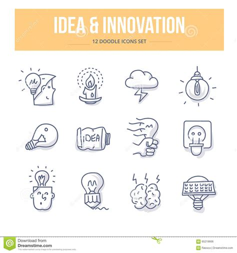 doodle generator idea innovation doodle icons stock vector image 65219666