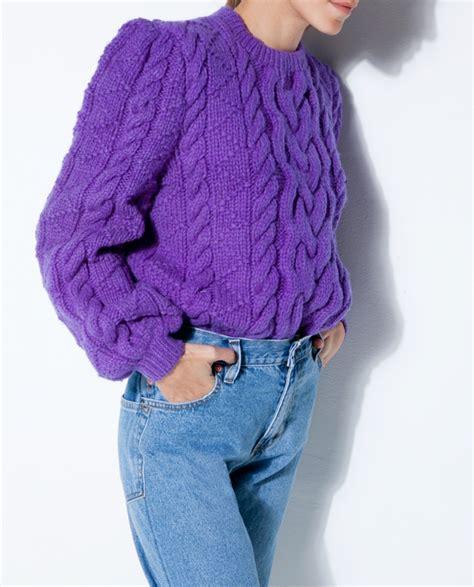 Cardigan Sweater Wanita Purple Knitted 328017 purple cable knit wool sweater fashionnoiz