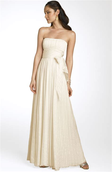Simple strapless silk a line wedding dress   OneWed.com