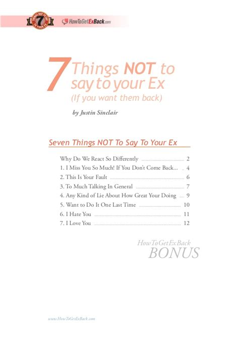 7 Things Not To Say At Our Next by 7 Things Not To Say To Your Ex
