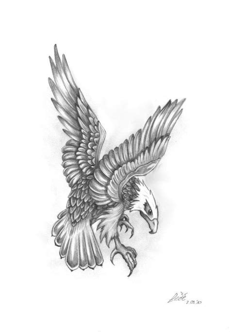 grey ink flying eagle tattoo design pinterest