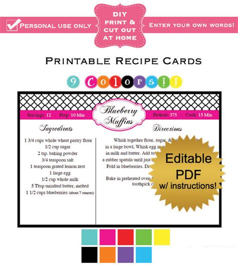 editable printable recipe cards free diy editable printable recipe cards pdf quatrefol in 9 colors