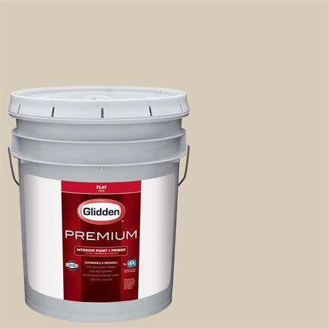 glidden premium 5 gal hdgwn28 linen flat interior paint with primer hdgwn28p 05fn