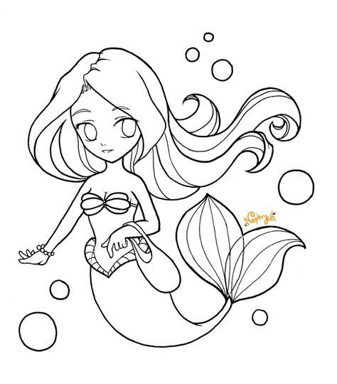 Chibi Ariel Lineart By Nephryl On Deviantart Chibi Disney Princess Ariel Free Coloring Sheets
