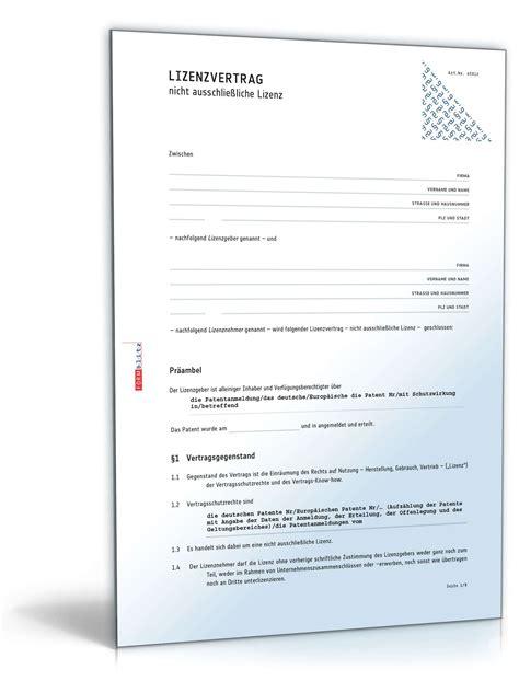Vorlage Kündigung Mietvertrag Eine Partei Lizenzvertrag Nicht Ausschlie 223 Liche Lizenz Muster Zum