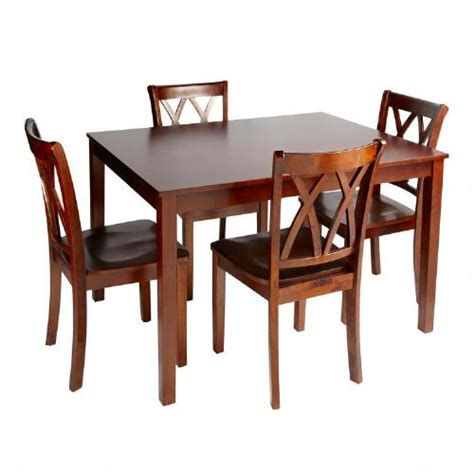 walnut dining table and chairs 5 set