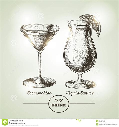 vintage cocktail vector cocktail sketch stock vector image 59587033