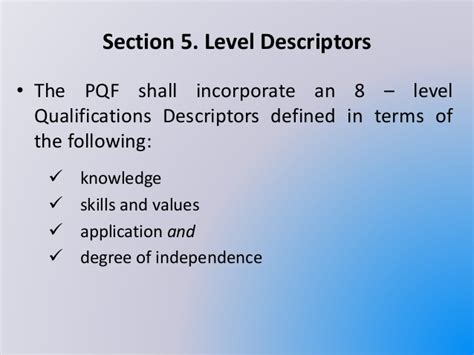 section 8 qualifications the philippine qualification framework