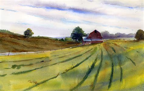 Landscape Artists Fields Open Fields Farm Country Watercolor Landscape Painting