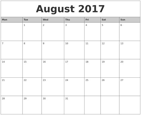 printable calendar 2017 monday to sunday august 2017 monthly calendar printable