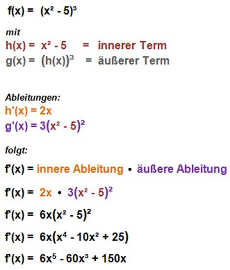 und innere ableitung differentialrechnung ableitungsregeln beispiele