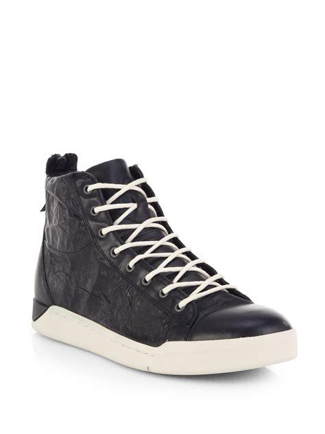 diesel high top shoes diesel tempus cracked leather high top sneakers in
