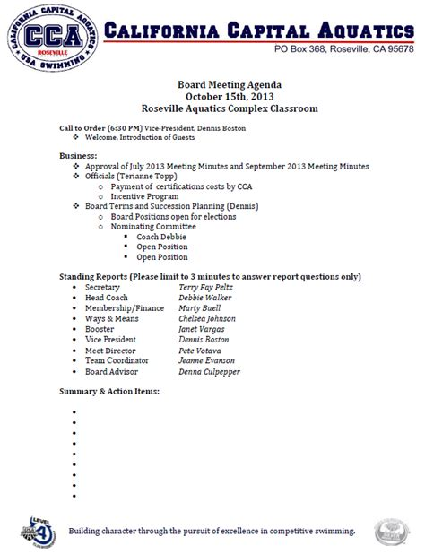 board of directors meeting agenda template 8 best agenda