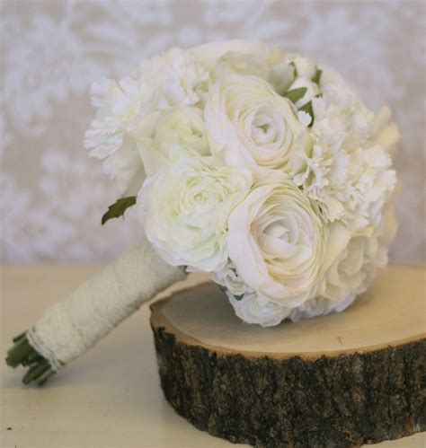 silk bride bouquet ranunculus roses rustic shabby chic