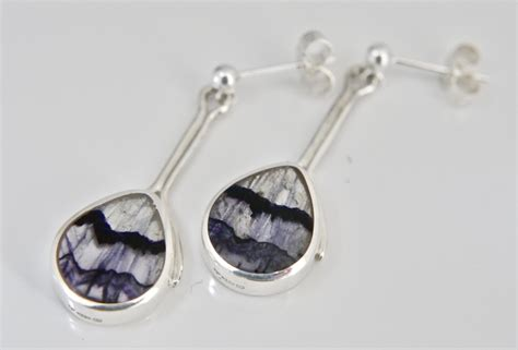 Handmade Silver Earrings Uk - handmade silver blue drop earrings handmade jewellery