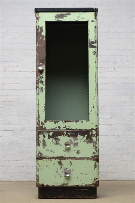vintage antique industrial metal cabinet