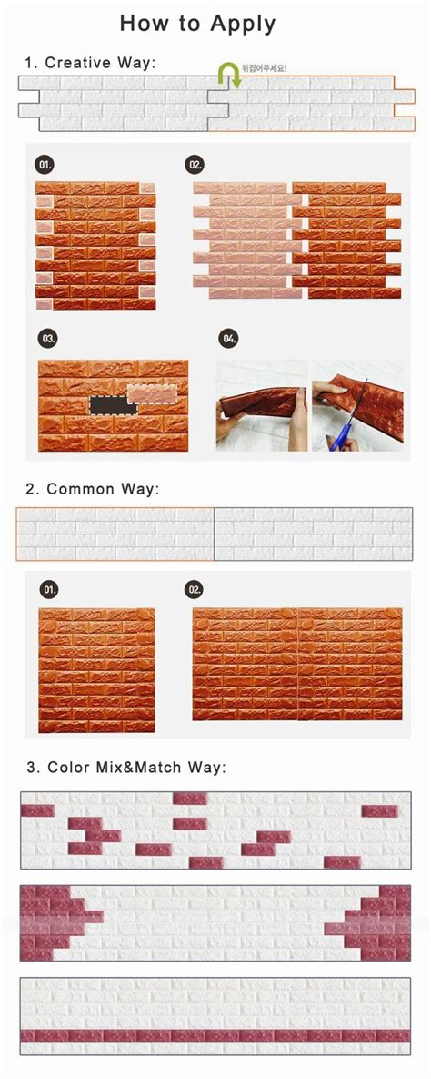 Sticker Wallpaper Dinding 3d Embosed Model Bata 4pcs white embossed 3d brick textured wall sticker panels 10mm thicken pe room wallpaper