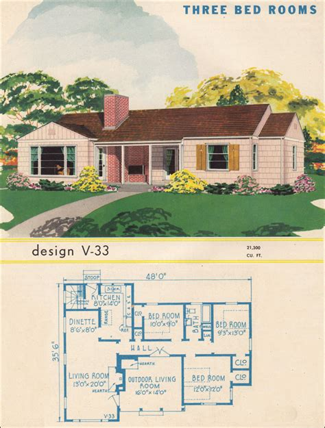 three bedroom ranch house plan 1945 style trends national plan service