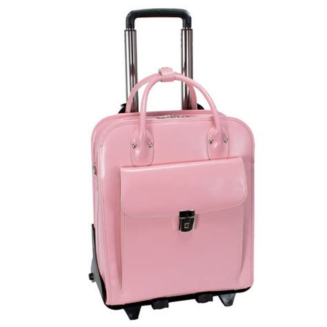 Tas Laptop Stylish la grange pink leather vertical detachable wheeled