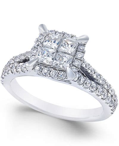 Square Rings by Square Halo Engagement Ring 1 Ct T W In