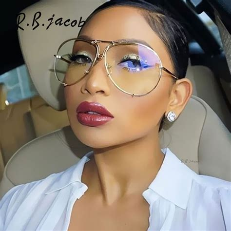 transparently trendy the clear glasses aviation oversized 2017 new famous brand design