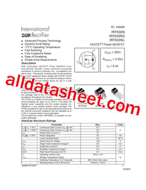 Transistor Mosfet Irf630n Irf irf630n datasheet pdf international rectifier