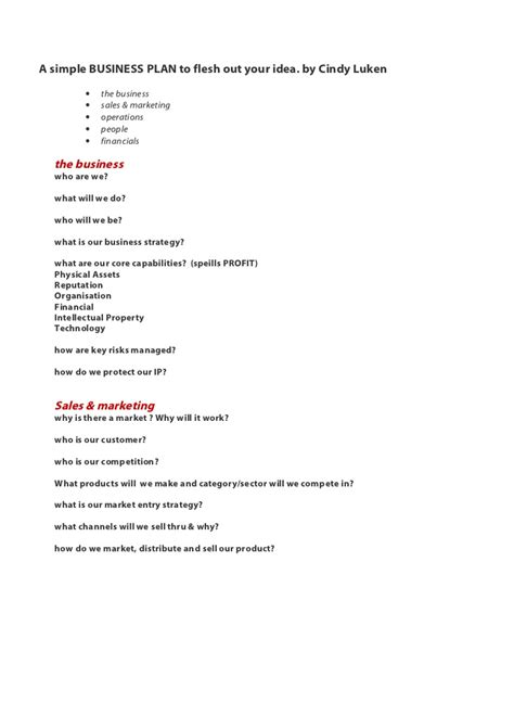 simple sle business plan template c luken biz plan simple q a format