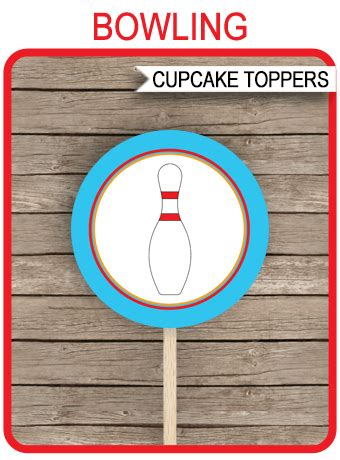 bowling party cupcake toppers template printable gift tags