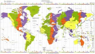 Time Zone Map Of The World by Map Of World Time Zones