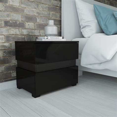 Black Bedroom Table Ls by Grade A2 Sense Black High Gloss Bedside Table With Led
