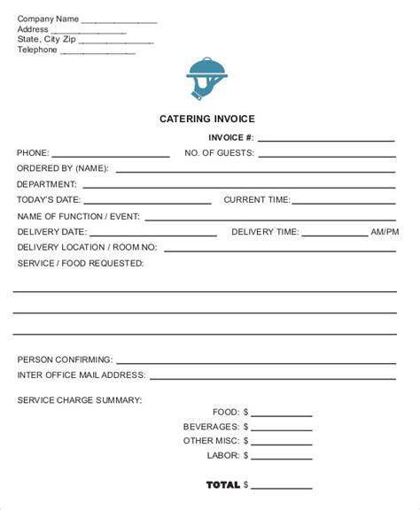 catering receipt template catering invoice templates 8 free word pdf format