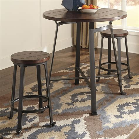 round pub table and chairs signature design by ashley challiman 3 piece round counter