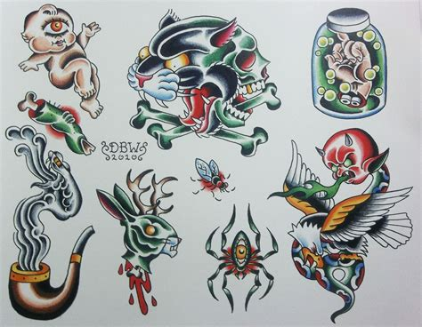 traditional tattoo flash miscellaneous i neo traditional flash sheet