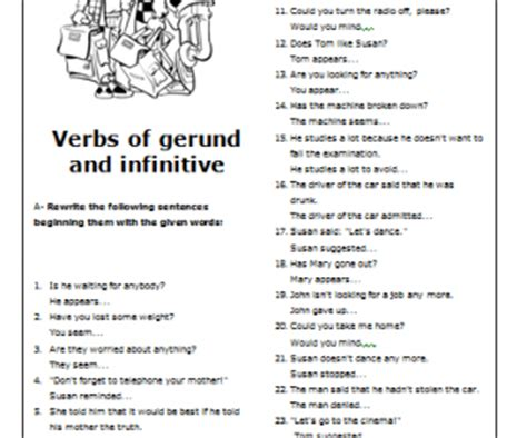Gerunds And Infinitives Worksheets With Answers by Verbs Of Gerund And Infinitive Intermediate Worksheet