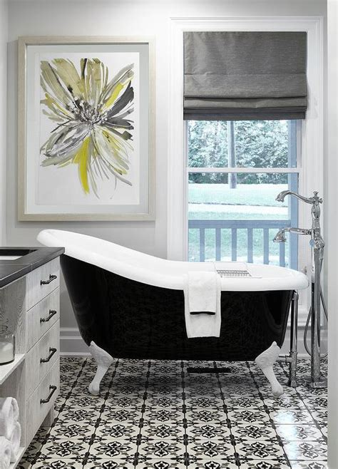 Black White And Yellow Bathroom Ideas by Black And Gray Bathroom With Yellow Transitional