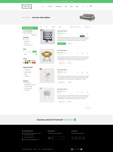 wordpress theme listview see shop furniture interior rtl responsive woocommerce