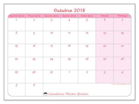 Calendario Outubro De 2018 Calend 225 Para Imprimir Outubro 2018 Rosea Portugal