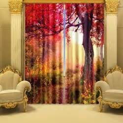 Fall Curtains For Living Room 3d 2 Panel Curtain Set Fall Tree Free Hooks Blackout
