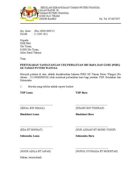 surat pertukaran tandatangan