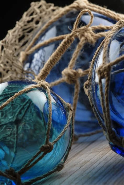 Set of 3 Nautical Blue Glass Floats with Rope Lanyard , 4