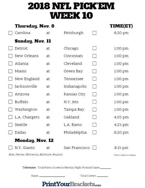 printable nfl schedule week 10 printable nfl week 10 schedule pick em pool 2018