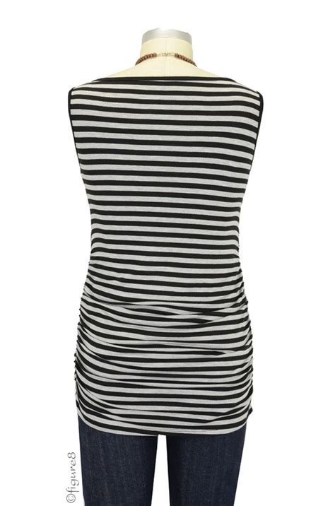Baju Stripe Blouse Es baju sleeveless boatneck nursing top in grey black stripe