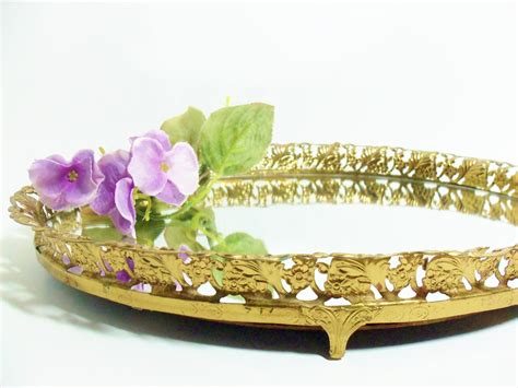 Perfume Tray For Dresser by Mirrored Perfume Tray Jewelry Or Dresser Vanity Tray Brass