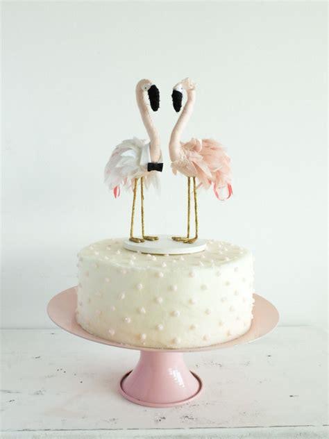Handmade Cake Toppers - flamingo wedding cake topper aisle society