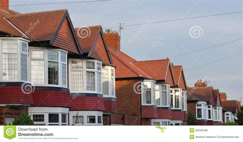 semi detached house or row house row of brick and tile built semi detached houses stock