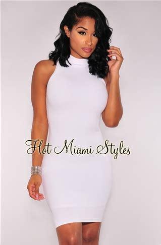 Doff Mini White white knit ribbed mock neck dress