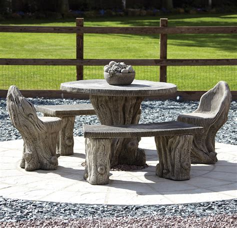 Garden furniture woodlands stone benches amp table patio set s amp s shop