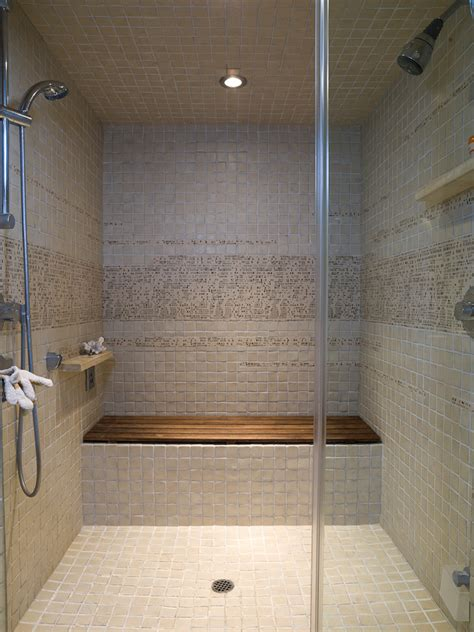 Old Bathroom Tile Ideas by Teak Shower Seat Bathroom Contemporary With Custom Vanity